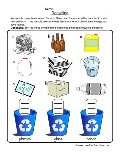 Recycle Worksheets by Earth Day Worksheets Teaching