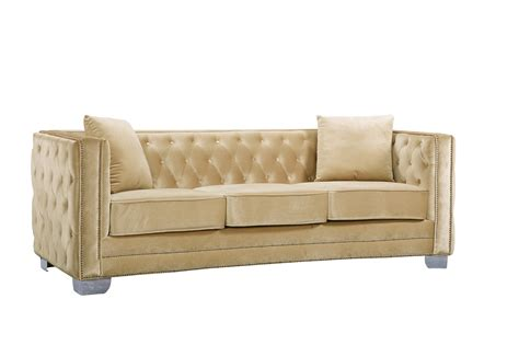velvet button tufted sofa gianni modern beige button tufted velvet sofa with