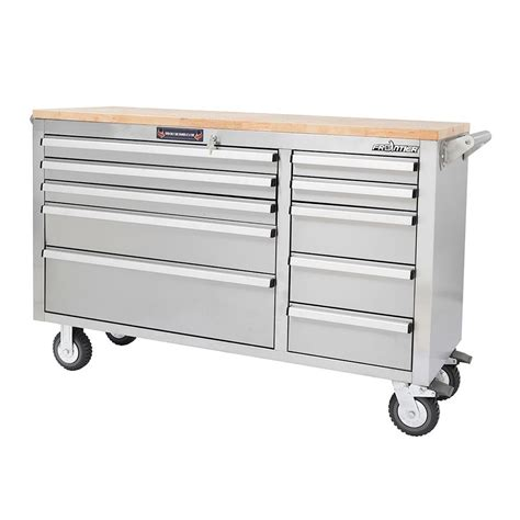 stainless steel tool cabinet frontier 56 in 10 drawer mobile workbench tool chest
