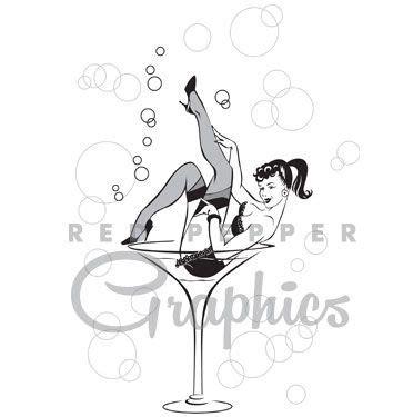 retro martini drawing retro burlesque graphic of in a martini glass 50s