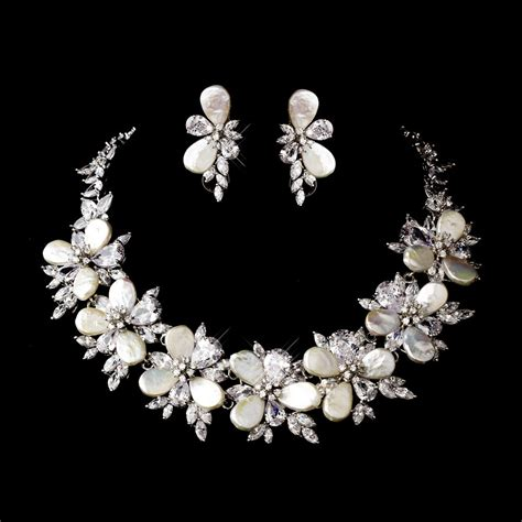 silver keshi pearl floral bridal necklace earring