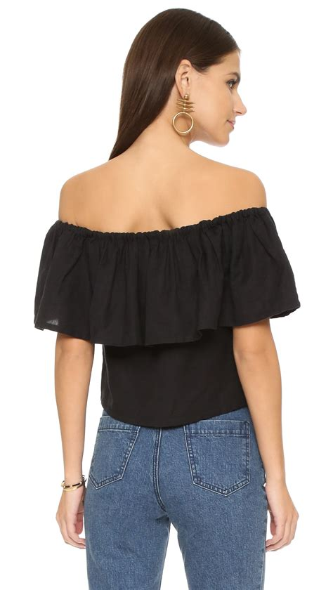 The Shoulder Ruffle Top mara hoffman ruffle shoulder top black in black lyst