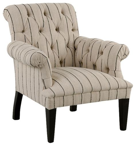 Striped Armchairs by Colline Country Striped Tufted Arm Chair