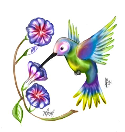 humming bird and morning glory by thetepster on deviantart