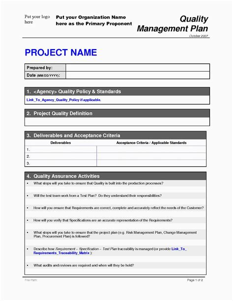 Plan Template by Project Quality Management Plan Quality Plan Template