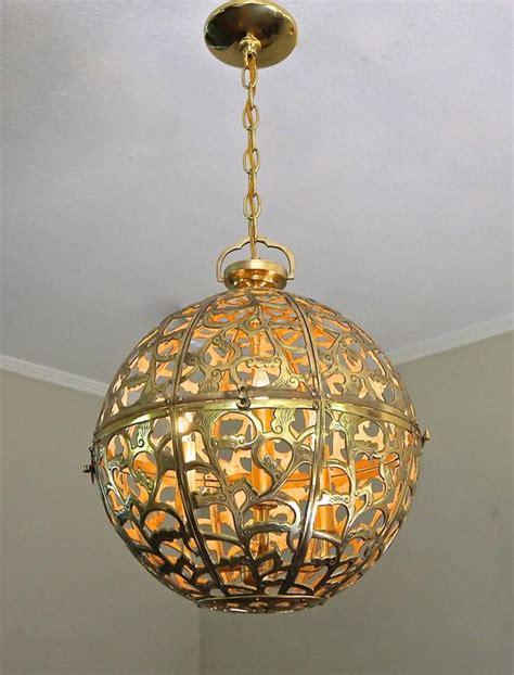 Asian Pendant Light Large Pierced Filigree Brass Japanese Asian Ceiling Pendant Light At 1stdibs