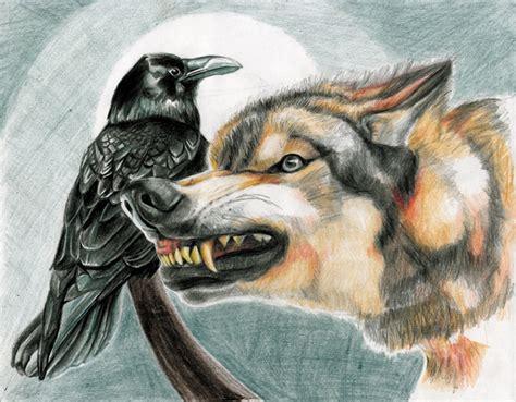 wolf and raven outside bozeman