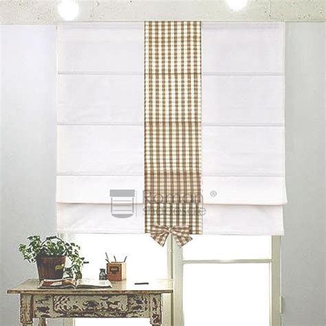 White Patterned Roman Shades   white coffee gingham patterned custom roman shade curtains