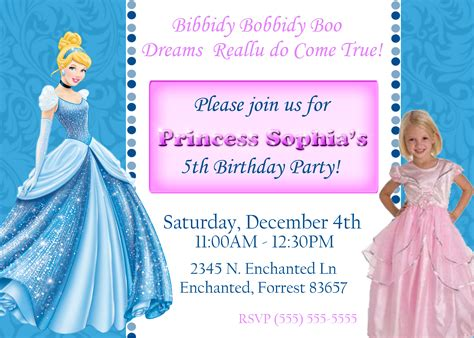 cinderella birthday card template birthday invitation cards cinderella birthday invitations