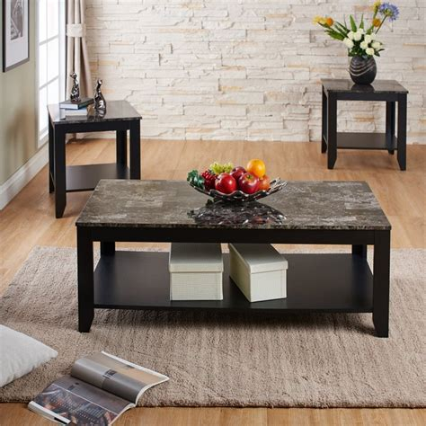 Marble Living Room Table Set Furniture Of America Ento 3 Faux Marble Top Coffee Table Set Idi 14996 X3