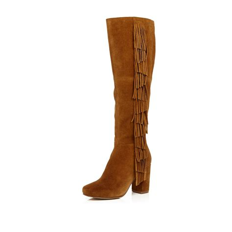 brown high heeled boots river island suede fringed knee high heeled boots in