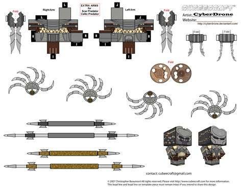 papercraft weapons templates predator accessories weapons paper free printable