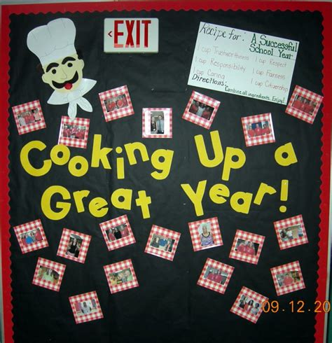 bulletin board design for home economics cooking up a great year bulletin board myclassroomideas com