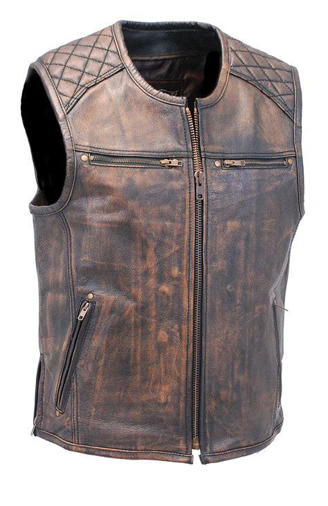 leather vest s vintage brown quilt shoulder leather gun vest