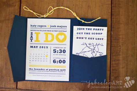 modern navy blue and yellow calendar style wedding date printable wedding invitation 2542472