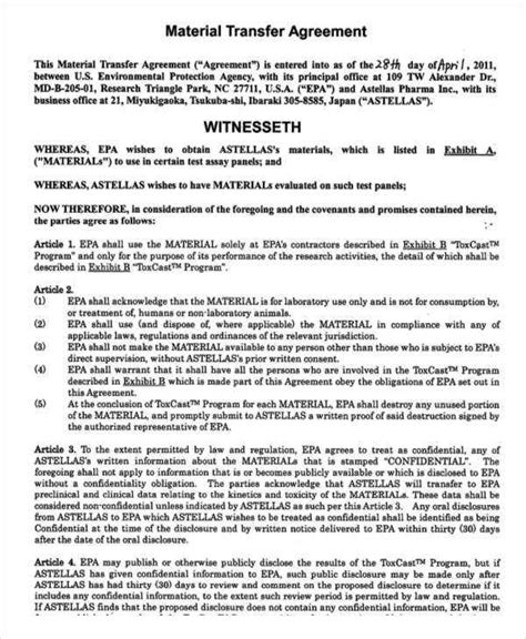 material transfer agreement template 8 transfer agreement free sle exle format