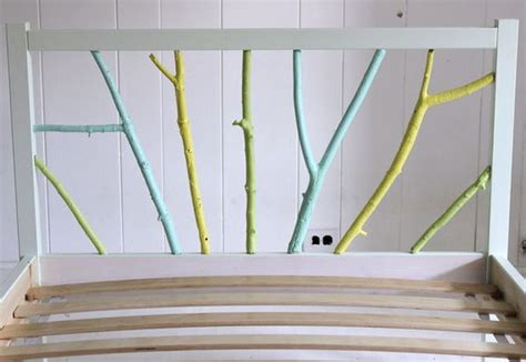 ikea branches ikea hack painted branch bed frame fabric covered