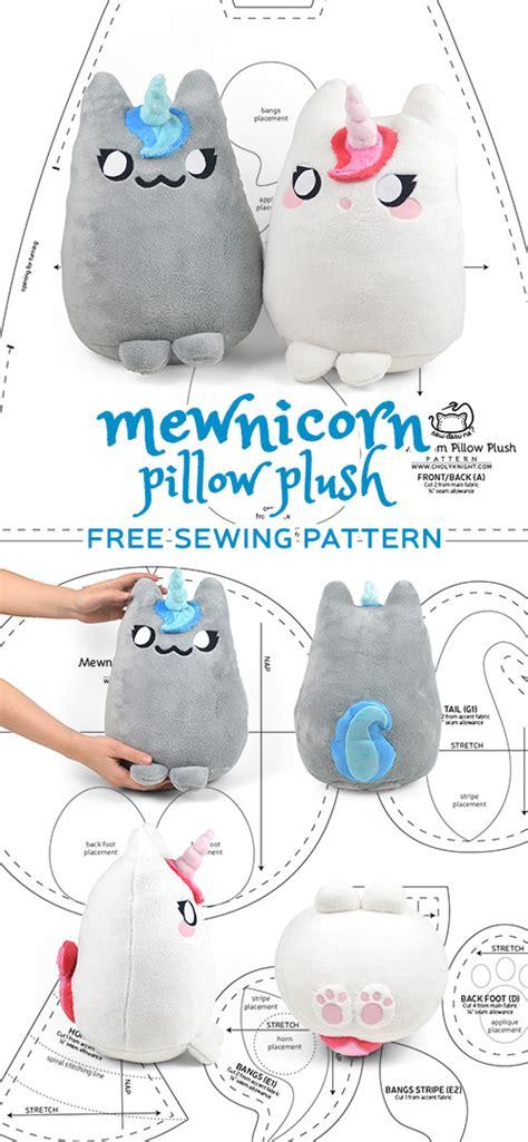 sewing pattern unicorn mewnicorn kitty unicorn plush sewing pattern by sewdesune