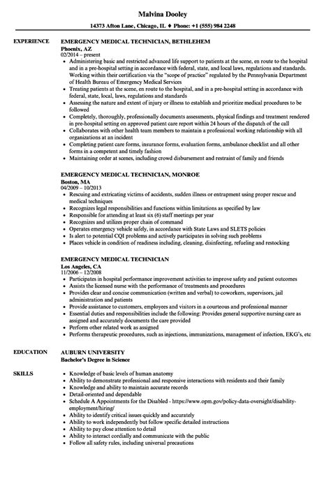 emergency technician resume sles velvet