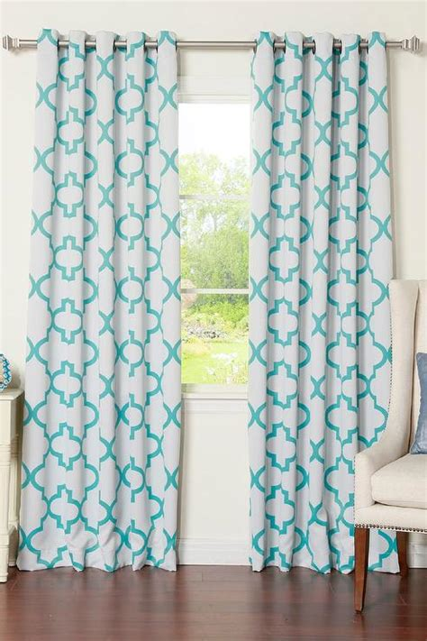 white  blue moroccan blackout curtain