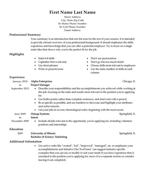 outline resume free resume templates fast easy livecareer
