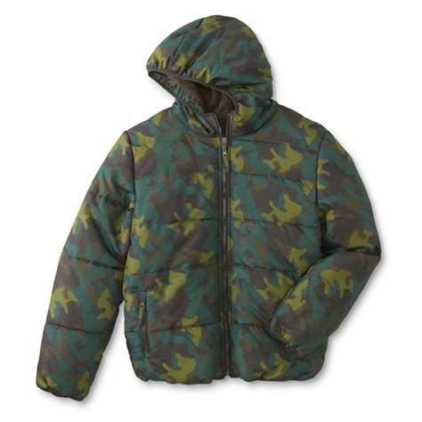 Camouflage Your Shopping by Roebuck Co Boys Husky Hooded Puffer Coat Camouflage