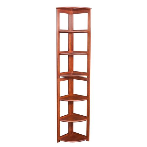 Corner Shelf Bookcase Home Decorators Collection 4 Shelf Corner Bookcase In Finish H 94 The Home Depot