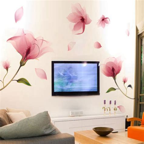 Wall Decals For Living Room Removable Pink Flower Wall Sticker Vinyl Mural Decals