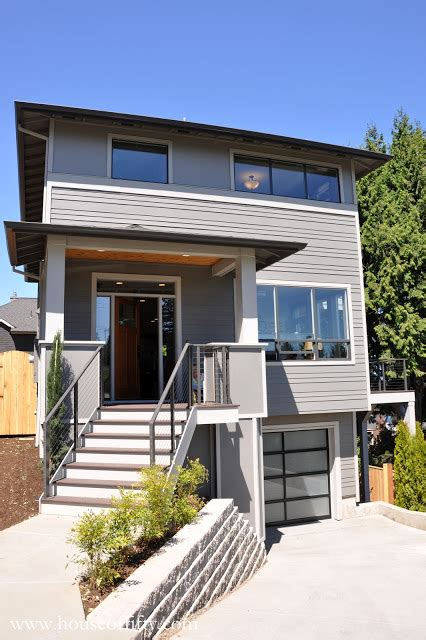 modern house porch retro modern four square house portland gray house