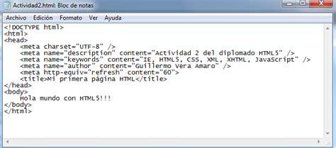 imagenes html bloc de notas diplomado html5 actividad 2 creando la primera p 225 gina