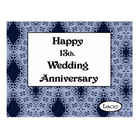 Lace Wedding Anniversary Ideas by Happy 13th Wedding Anniversary Lace Postcard Zazzle