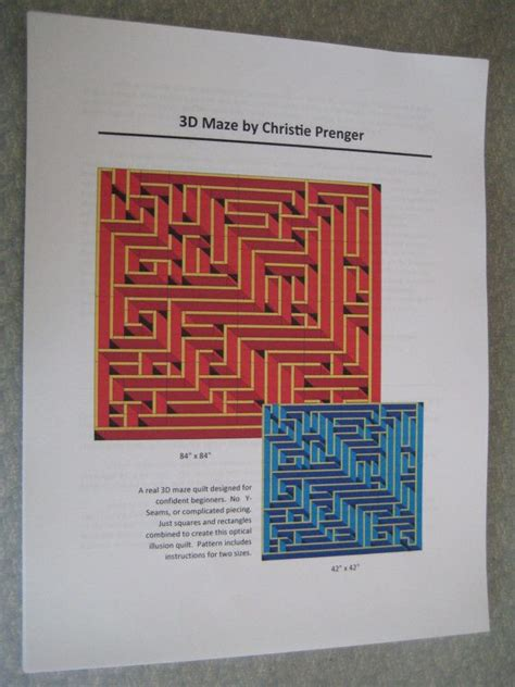 printable sewing maze 3d maze quilt pattern detailed full color 27 pages