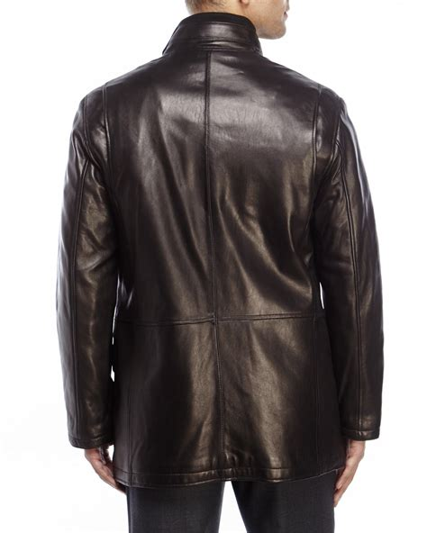 cole haan brown leather jacket cole haan smooth leather jacket in brown for lyst