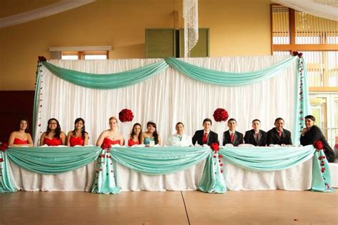 My daughters Quinceanera head table.   Tiffany blue and