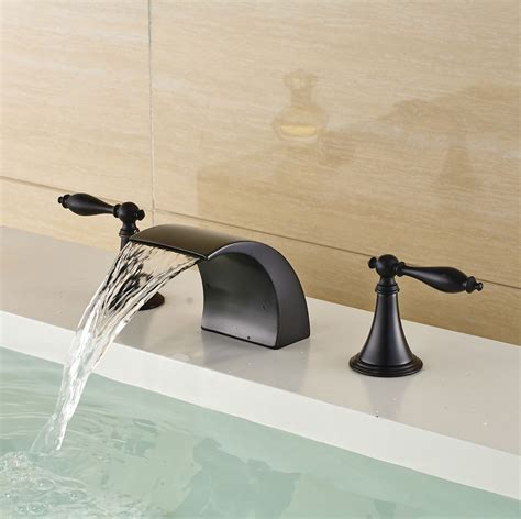 oil rubbed bronze waterfall bathroom faucet oil rubbed bronze widespread basin faucet waterfall spout
