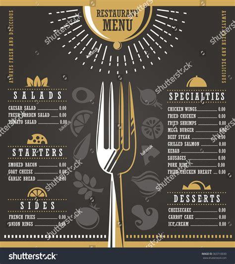 layout menu bar restaurant menu design abstract menu layout stock vector
