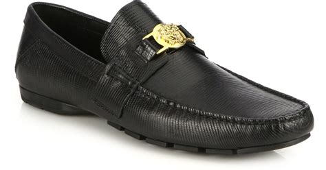 mens versace loafers versace lizard embossed leather logo medallion loafers in