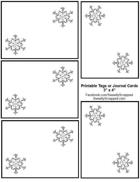 printable snowflake tags sweetly scrapped snowflake journal cards or tags