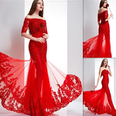 Indian Dresses Women Red Tulle Appliques Lace Off The Shoulder Half Sleeves Mermaid Evening