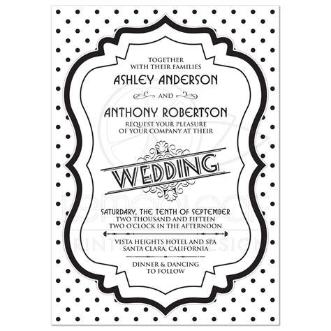 Retro Wedding Invitations by Wedding Invitation Retro 50s Black White Polka Dot