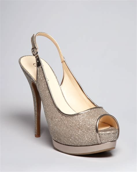 guess gold high heels guess peep toe platform evening pumps glensia high heel in