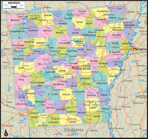map arkansas political map of arkansas ezilon maps