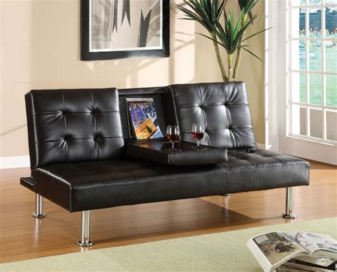 furniture of america black futon sofa with center
