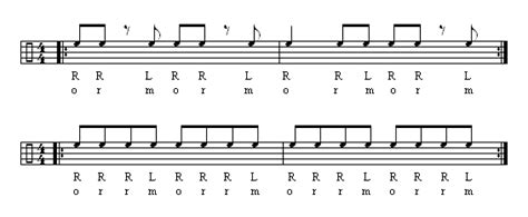 drum upbeat pattern r right l left