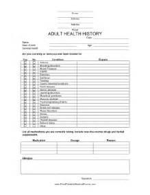 printable health history form