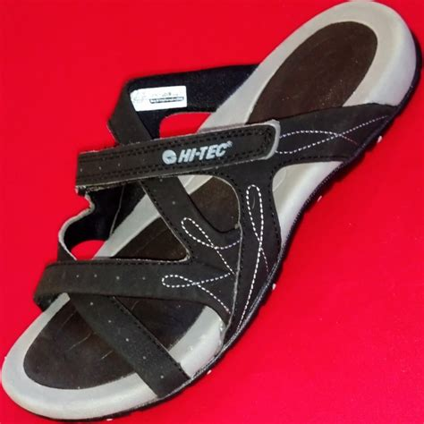 athletic slides shoes new womens hi tec waimea black velcro slides athletic