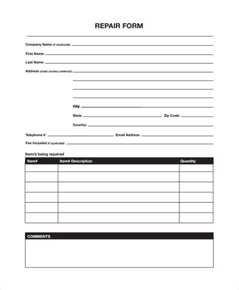 repair form template sle repair form 8 documents in pdf word