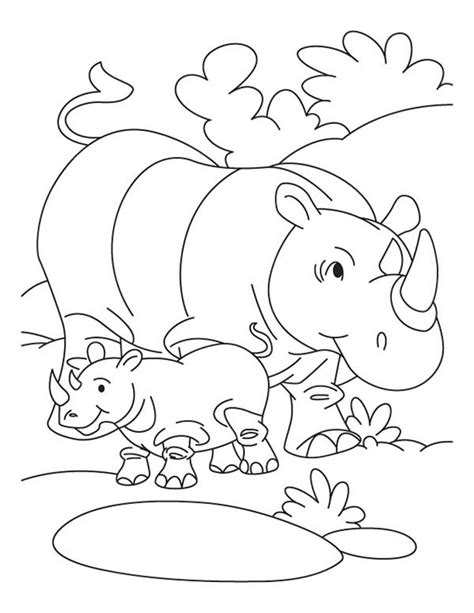 baby rhino coloring page baby rhino love his mother coloring pages batch coloring