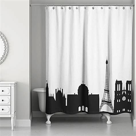 paris curtains bed bath beyond paris monuments shower curtain in black white bed bath