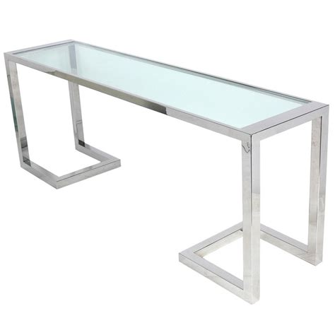 Glass Console Table Large Scale Chrome And Glass Console Table Or Desk At 1stdibs